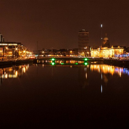 Dublin City Night George's Quay Custom House Quay Millenium Spire Paul O'Rourke Photography